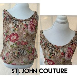 St. John Couture 💕 Sheer Fashion Fit Floral Top